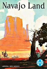 Art Ad Santa Fe  Navajo Land Travel Deco  Poster Print
