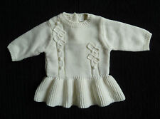 Baby clothes GIRL newborn 0-1m NEXT soft acrylic cream knitted long sleeve dress