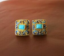 VALENTINE VINTAGE CHINESE STERLING VERMEIL ENAMEL TURQUOISE POST EARRINGS
