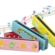 Random Color Educational Musical Wooden Harmonica Instrument Toy for Kids Gift
