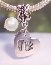 Hand Print Footprint Heart June Birthstone Baby Dangle Bead for Charm Bracelets