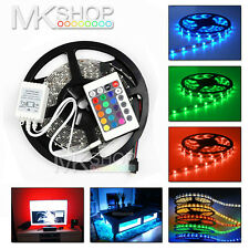 5M Indoor 300 LED 3528 RGB SMD Strip Light 12V + 24 Remote, TV Car Kitchen Room