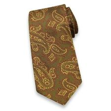 Charvet Place Vendome Green, Gold & Pink Floral Paisley Print Neck Tie BRAND NEW