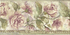 Purple Lavender Crackled Roses Floral Flower Bead Molding Wall paper Border