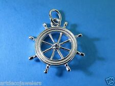 Vintage silver NEW ENGLAND NAUTICAL LARGE SHIP WHEEL DOUBLE SIDED charm JMF #F