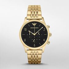 NEW Emporio Armani Mens Gold Tone Chronograph Watch-AR1893 With Certificate