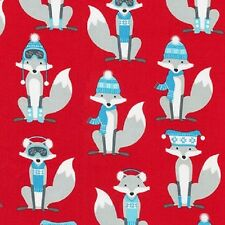 Robert Kaufman Polar Pals fabric. Christmas 2016. Winter Foxes in Red. PER FQ