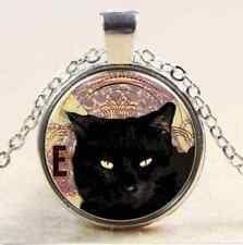Vintage Cat Cabochon Tibetan Bronze Glass Chain Pendant Necklace NEW  T2