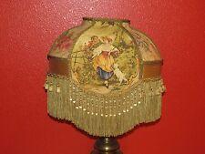 VICTORIAN LAMP SHADE FRAGONARD FABRIC GOLD SILK beads