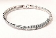 David Yurman 3mm Crossover Bracelet With Diamonds