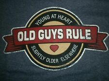 "OLD GUYS RULE ""YOUNG AT HEART  SLIGHTLY OLDER ELSEWHERE""  NAVY HEATHER  S/S  XL"