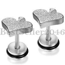 Pair Punk Stainless Steel Matte Poker Hearts Ear Studs Men's Women's Earrings
