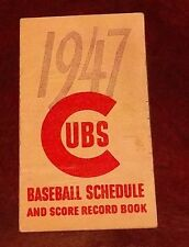 Chicago Cubs Baseball schedule & score record book 1947 MBL