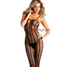 Sheer BODY STOCKING Black VERTICAL STRIPE Tank Style CLOSED CROTCH Diamond OS