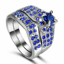 Size 8 Platinum Plated sapphire 2-in-1 Wedding Engagement Ring Set Cluster Gift