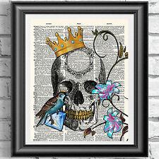 Tatuaje Rey Calavera Blue Bird Antiguo Diccionario Libro página de impresión de arte cartel