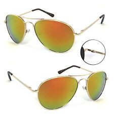 2 Pairs Combo Retro Women Men Glasses Aviator Sunglasses - Gold/Fire Lens AV01