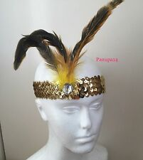 Gold sequin feather bandeau 1920S déguisement charleston front bande clapet