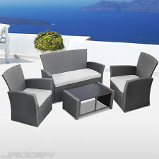 Polyrattan Sofa Set Garden Furniture Coffee Table Chair Seat Couch Guest Grey