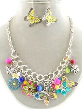 NEW Colorful Rainbow BUTTERFLY & FLOWER CHARM NECKLACE Earrings SET