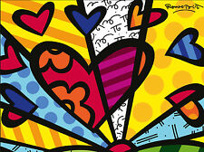 STAMPA SU TELA CANVAS Britto Love Heart 90X120 MODERNO DESIGN POP ART ARREDO