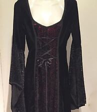 LIP SERVICE Black Boho Burnout Velvet Gypsy Bell Sleeve Laces Goth Maxi Dress L