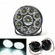 LED Light Bar Daytime Running Driving Lights DRL Round FRONT FOG Spot Lamps 4X4