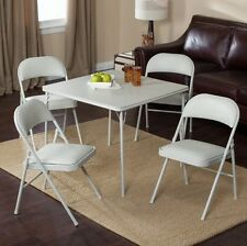 Card Table And Chairs Set Folding Double Padded Square 5 Pcs Rec Room Furniture