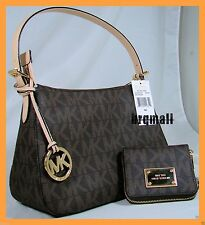 Michael Kors  Shoulder Tote Brown PVC MK signature and Matching Bifold Wallet