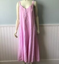 Crabtree & Evelyn Pink Nightgown 100% Cotton Turkey  Heart buttons Size L