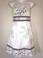KIMCHI BLUE WOMENS LADIES WHITE GRAY & GREEN STRAPLESS COTTON PARTY DRESS ~SZ M