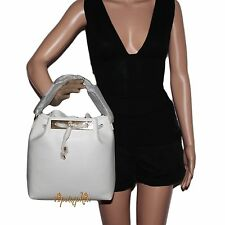FURLA MIA SAFFIANO LEATHER SMALL DRAWSTRING BUCKET BAG PETALO WHITE NEW $348