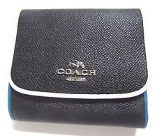 Coach Small Wallet Tricolor Edgestain Leather 55296 Silver Black Tricolor $125