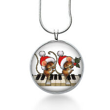 Christmas Mice on the Piano Necklace, Holiday Pendant, mice, gifts for women