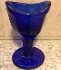 Vintage Antique Cobalt Blue Glass Eye  Wash Bath Optical Panel Cup