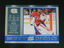 2016-17 UD Tim Hortons Game Day Action #8 Carey Price Montreal Canadiens