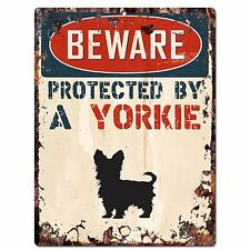PP2111 BEWARE PROTECTED BY A YORKIE Rustic Plate Chic Sign Home Door Decor