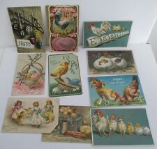 Lot of 10 Vintage EASTER POSTCARDS, Eggs, Roosters, Chickens, Chicks Circa 1910
