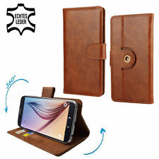 Genuine Leather Phone Wallet Case For Vodafone Smart ultra 7 - 360 Brown L