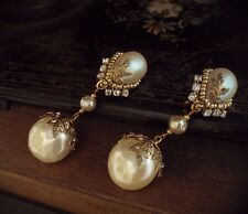 Vintage Baroque Pearl & Seed Bead Drop Clip Earrings Miriam Haskell Style