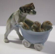 Vintage BEAGLE PUSHING BABY CARRIAGE w/ PUPPIES Dog Figurine Terrier JAPAN 3.5""