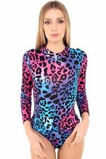Ladies Womens  Choker Neck Stretch Printed Leotard Top Bodysuit Tops UK 8-14