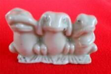 """Frog Figurine ~ Porclain """"Hear No Evil, See No Evil, Speak No Evil"""" JAPAN & LOGO"""