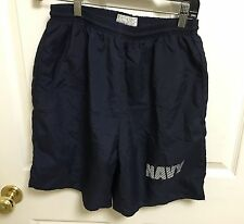 Men's US NAVY Small PT Shorts USN Physical Training Shorts Blue Lined Reflective