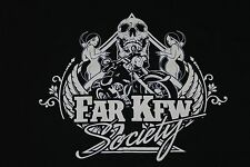 Biker T Shirts Long/Sleeves Skull Black Harleys Girl Far Kew Society Bikes M-3XL