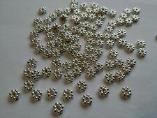 50 Tibetan Silver Plated Small Flower Space Beads 4.5mm X 1mm Jewellery Findings