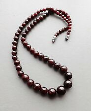 Rhodolite garnet bead gemstone necklace .. graduated gem glam dark red jewellery
