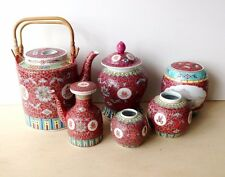 6 pcs Chinese Famille Red Rose Set Teapot, Sugar caddies, Container/Urn, creamer