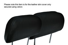 BLACK STITCH 2X FRONT HEADREST LEATHER SKIN COVERS FITS HONDA PRELUDE 1986-1991