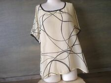 WOMENS SIZE L BLACK AND BEIGE SHEER DOLMAN CUT HIGH LOW TOP BLOUSE